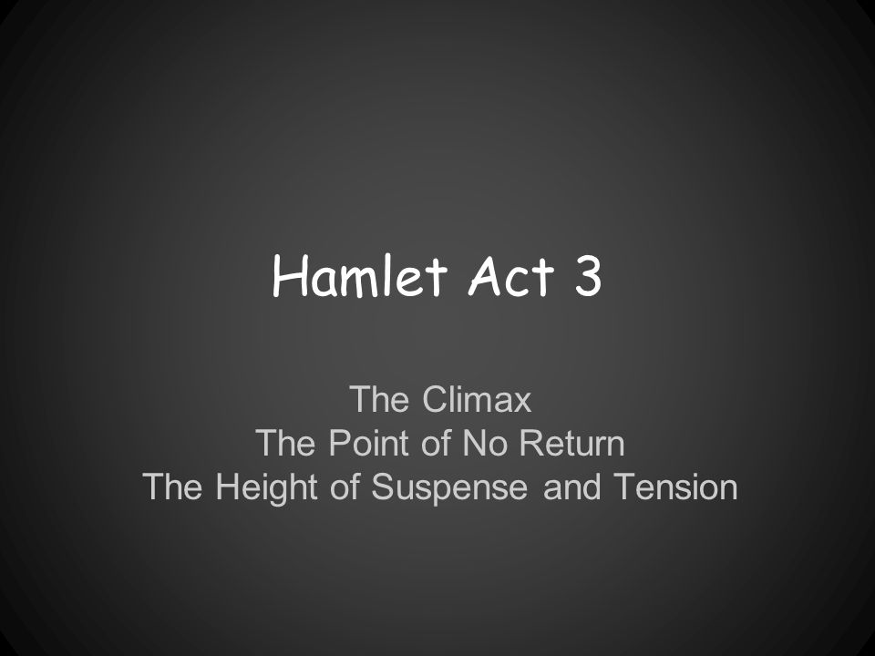 Hamlet Act 3 The Climax The Point of No Return The Height of Suspense and Tension