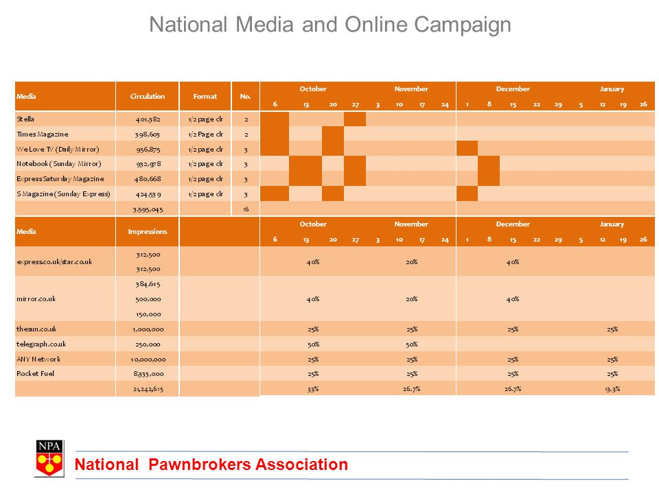 National Pawnbrokers Association National Media and Online Campaign