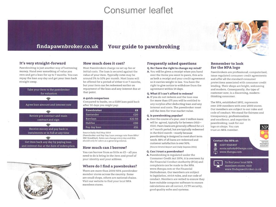 National Pawnbrokers Association Consumer leaflet