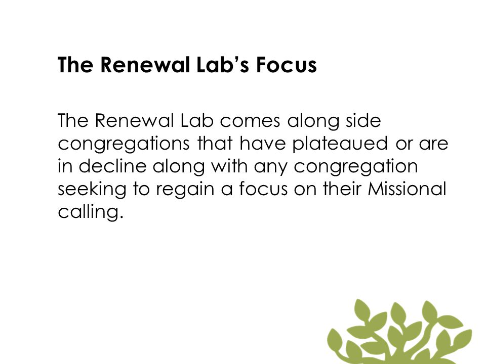 The Renewal Lab's Purpose The Renewal Lab seeks to develop intentional congregations that make more and better disciples who join Christ on mission to the world he loves.