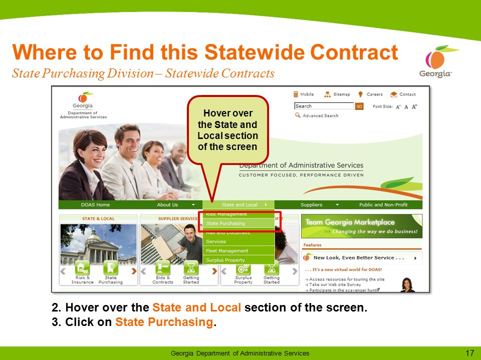 17 Georgia Department of Administrative Services Where to Find this Statewide Contract State Purchasing Division – Statewide Contracts 2.