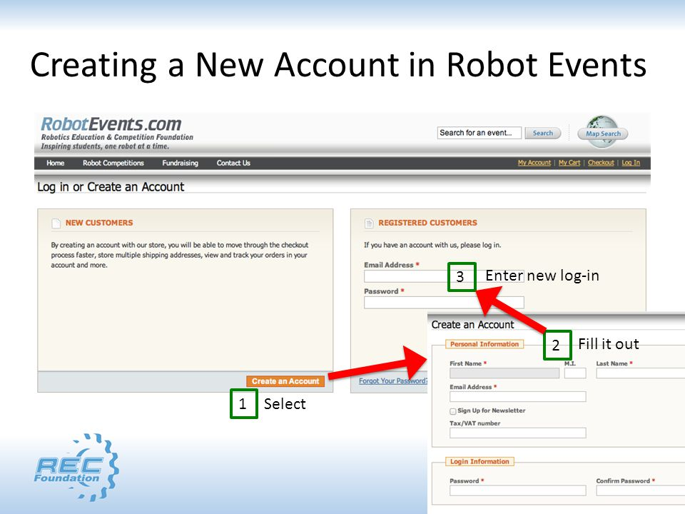 Creating a New Account in Robot Events 1 2 3 Select Fill it out Enter new log-in
