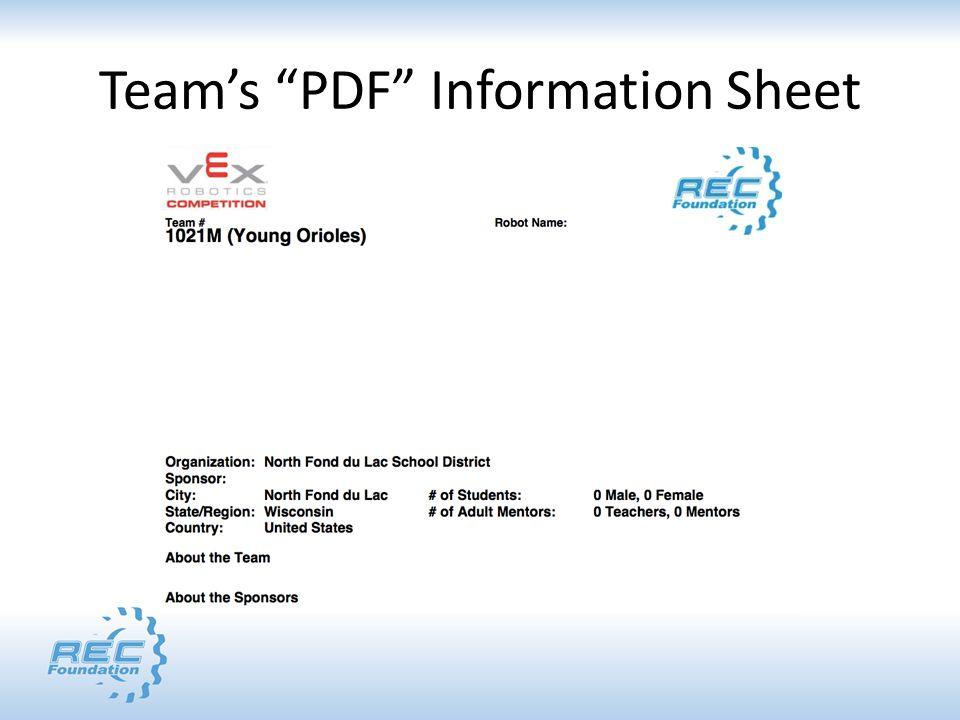 "Team's ""PDF"" Information Sheet"