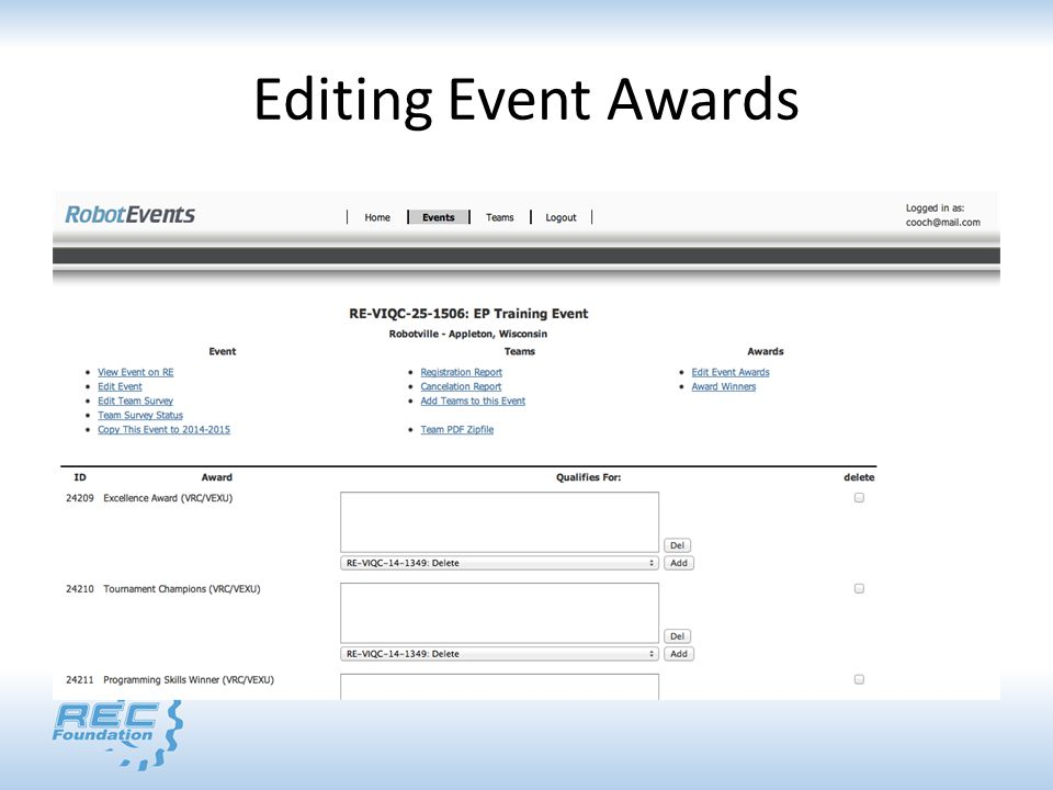 Editing Event Awards