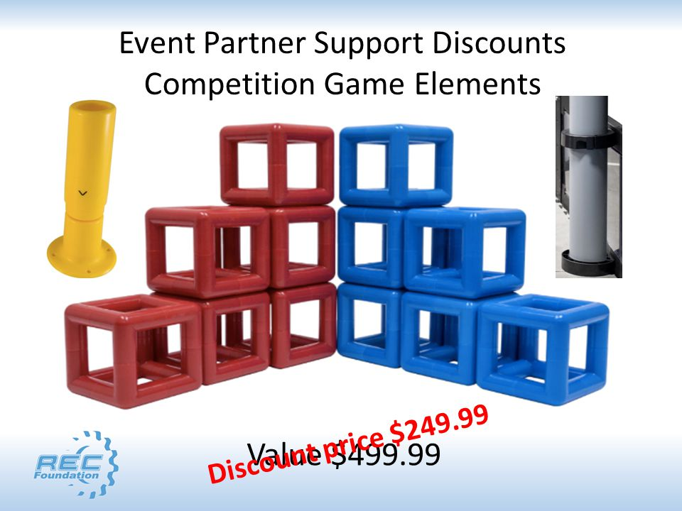 Event Partner Support Discounts Competition Game Elements Value $499.99 Discount price $249.99