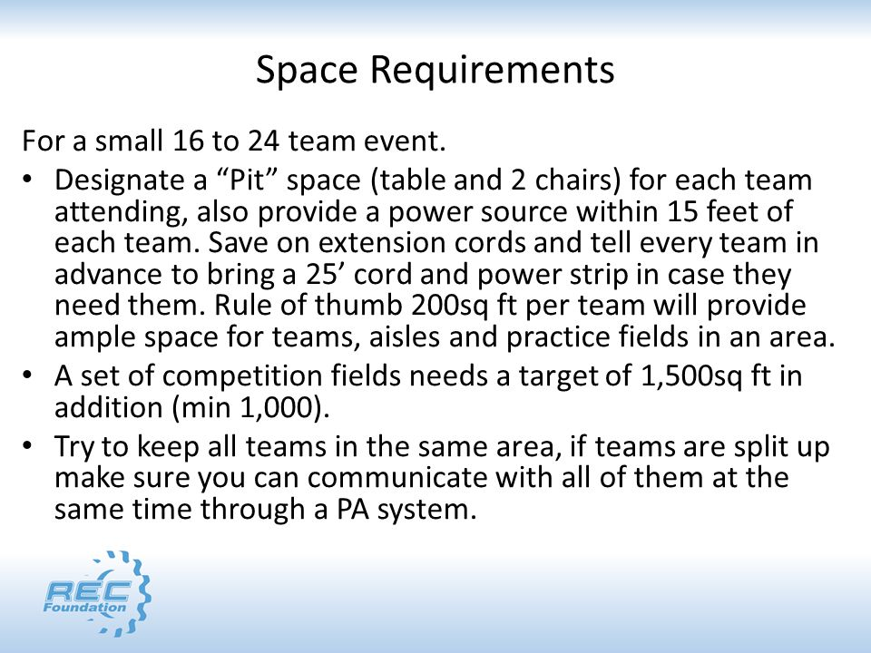 Space Requirements For a small 16 to 24 team event.