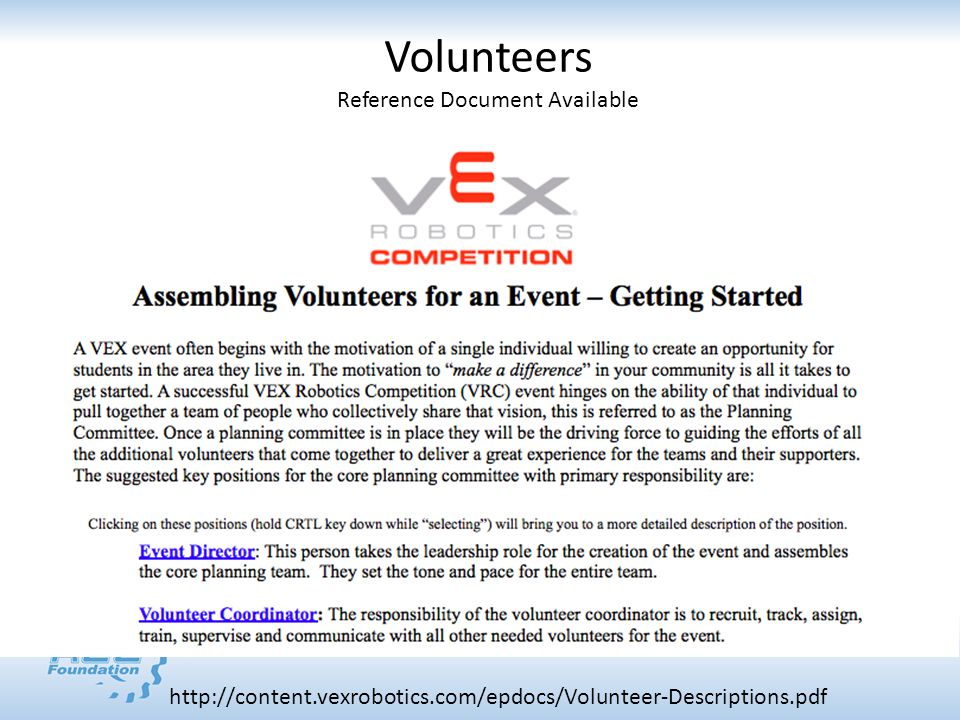 http://content.vexrobotics.com/epdocs/Volunteer-Descriptions.pdf Volunteers Reference Document Available