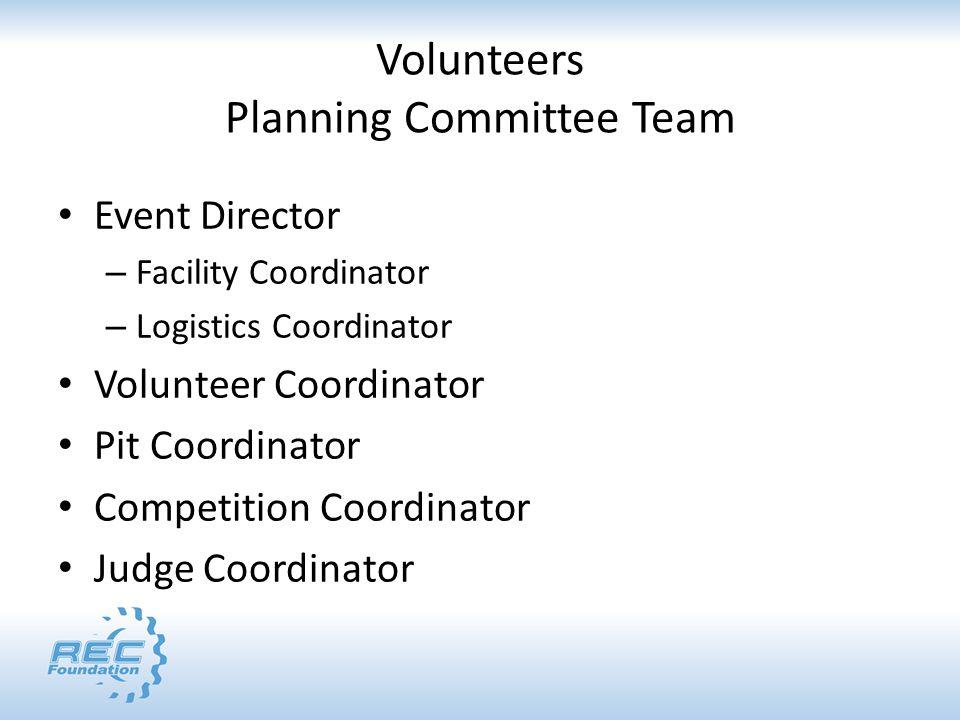 Volunteers Planning Committee Team Event Director – Facility Coordinator – Logistics Coordinator Volunteer Coordinator Pit Coordinator Competition Coo