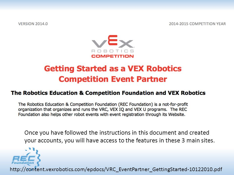 http://content.vexrobotics.com/epdocs/VRC_EventPartner_GettingStarted-10122010.pdf Once you have followed the instructions in this document and created your accounts, you will have access to the features in these 3 main sites.