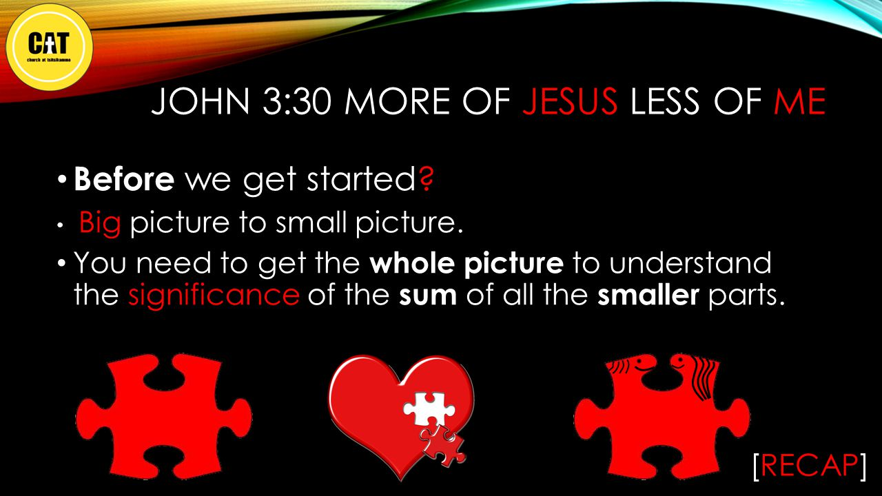 Before we get started.The central BIG picture / BIG truth to John's gospel is Father God.