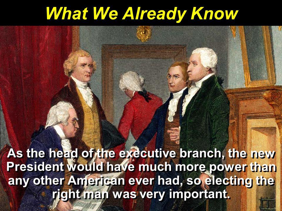 For Secretary of State, Washington chose Thomas Jefferson, former ambassador to France.