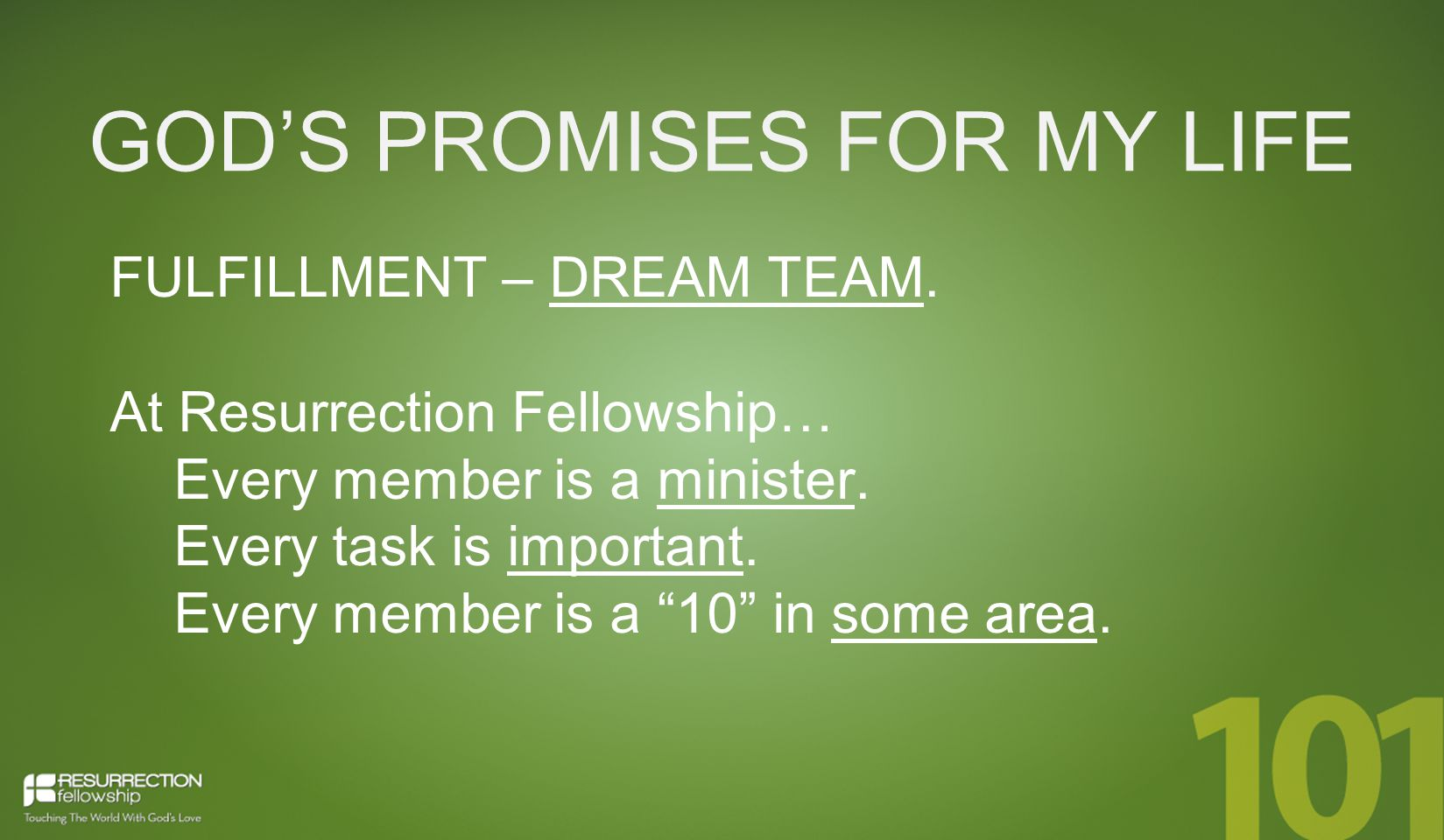 GOD'S PROMISES FOR MY LIFE FULFILLMENT – DREAM TEAM.