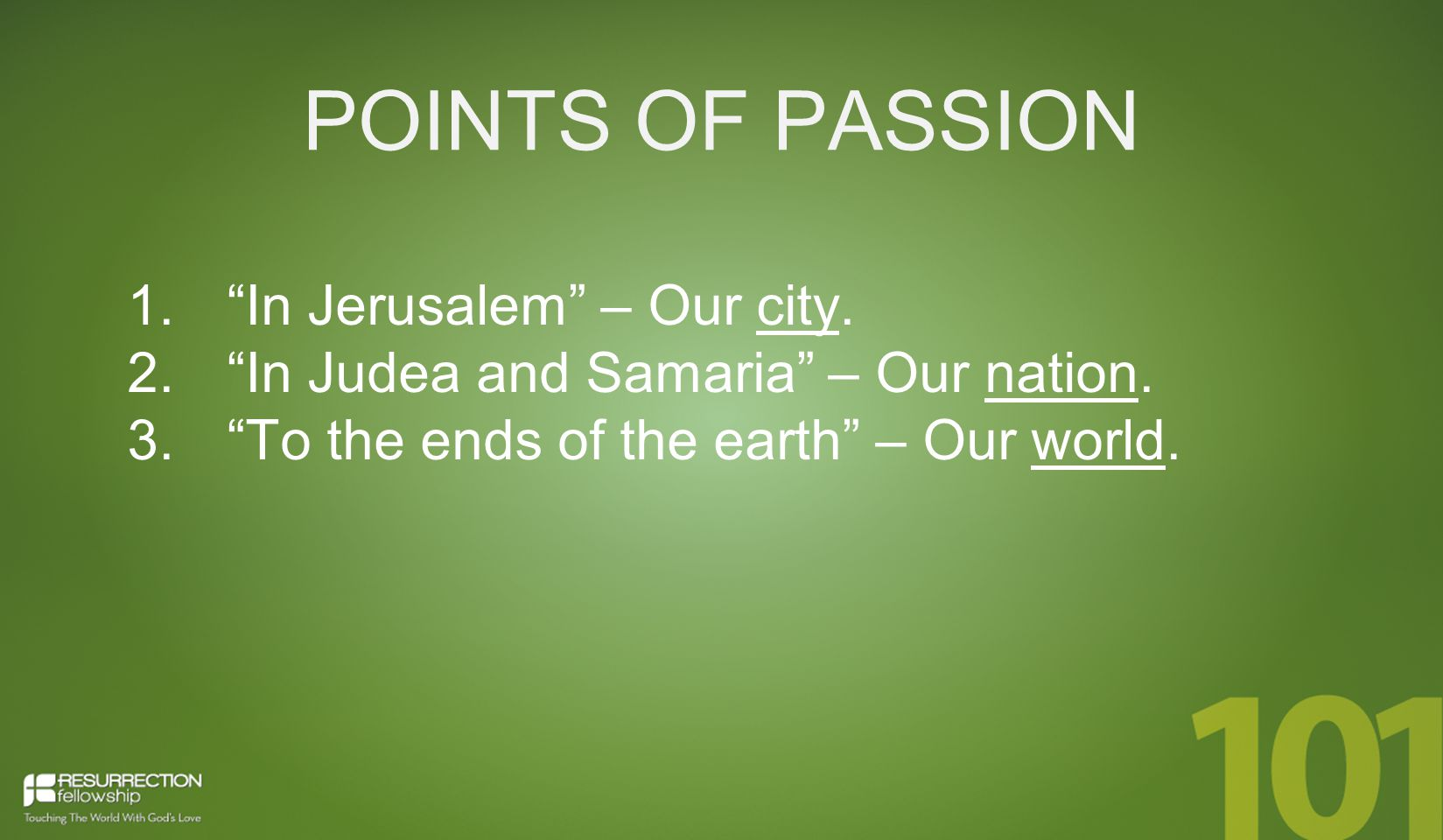 POINTS OF PASSION 1. In Jerusalem – Our city. 2.