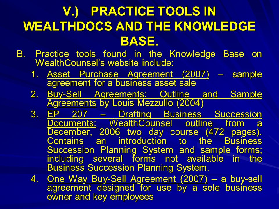 V.)PRACTICE TOOLS IN WEALTHDOCS AND THE KNOWLEDGE BASE.