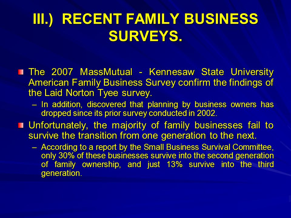 III.)RECENT FAMILY BUSINESS SURVEYS.