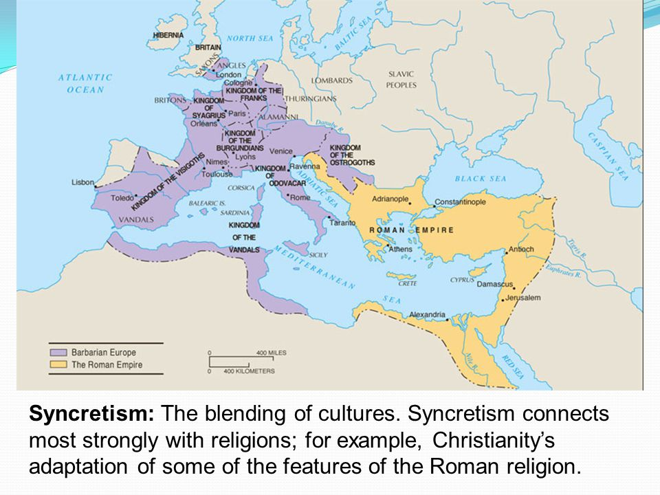 Syncretism: The blending of cultures.