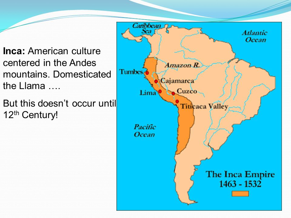Inca: American culture centered in the Andes mountains.