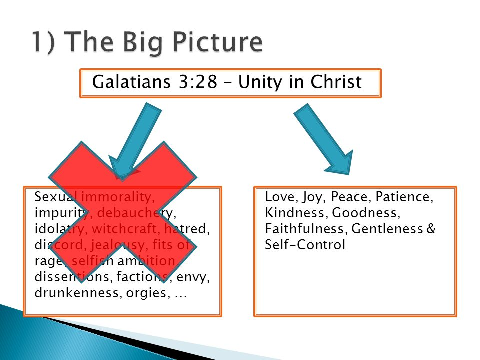 Galatians 3:28 – Unity in Christ Love, Joy, Peace, Patience, Kindness, Goodness, Faithfulness, Gentleness & Self-Control Sexual immorality, impurity, debauchery, idolatry, witchcraft, hatred, discord, jealousy, fits of rage, selfish ambition, dissentions, factions, envy, drunkenness, orgies,...
