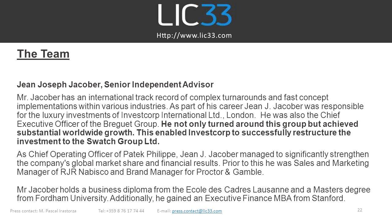 The Team Jean Joseph Jacober, Senior Independent Advisor Mr.