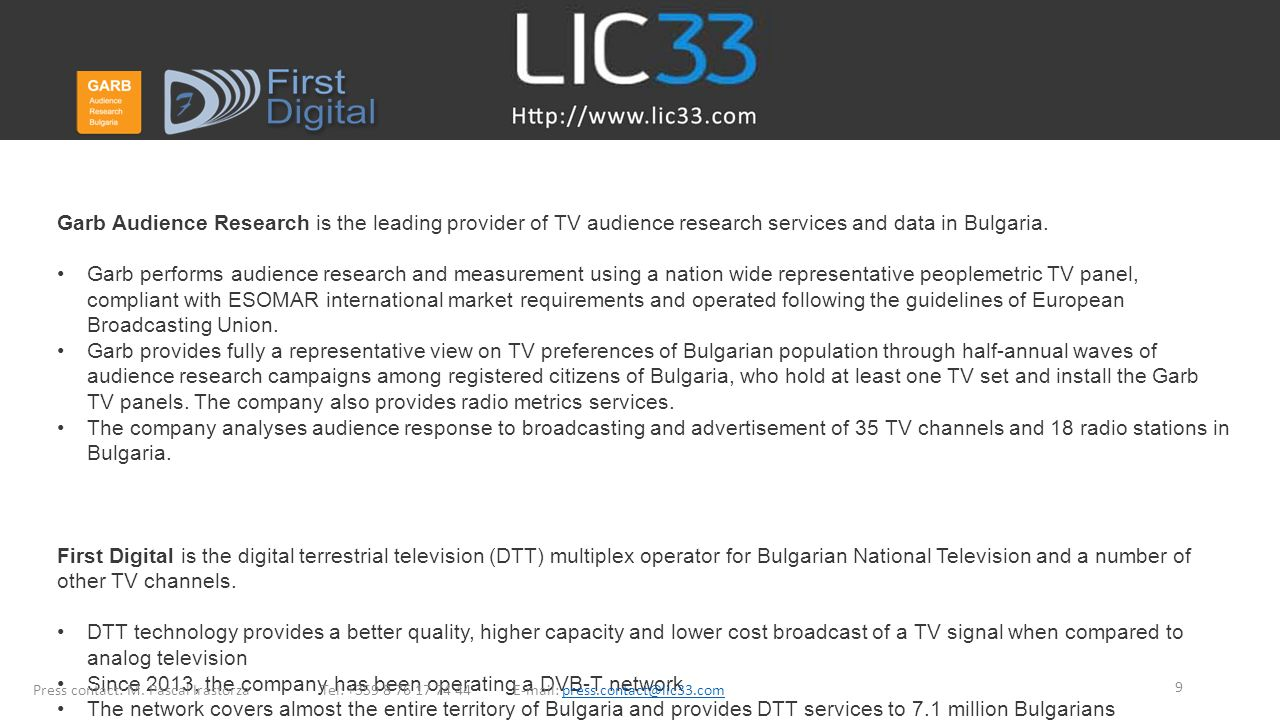 Garb Audience Research is the leading provider of TV audience research services and data in Bulgaria.