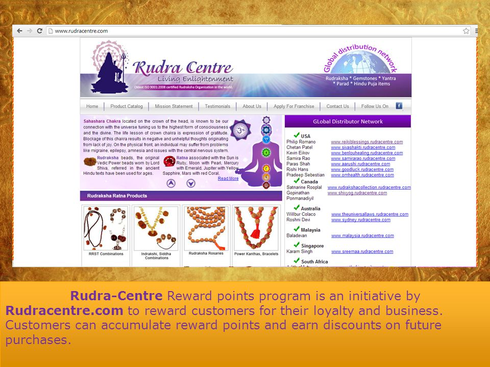 How does Rudra Centre reward points program work.