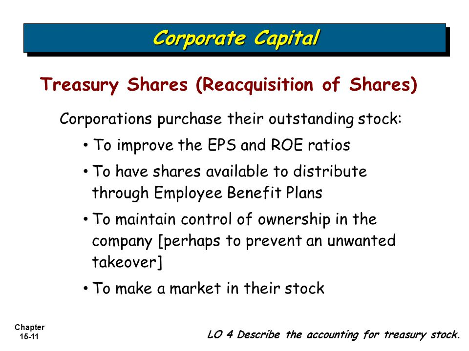 Chapter 15-11 Treasury Shares (Reacquisition of Shares) LO 4 Describe the accounting for treasury stock. Corporate Capital Corporations purchase their