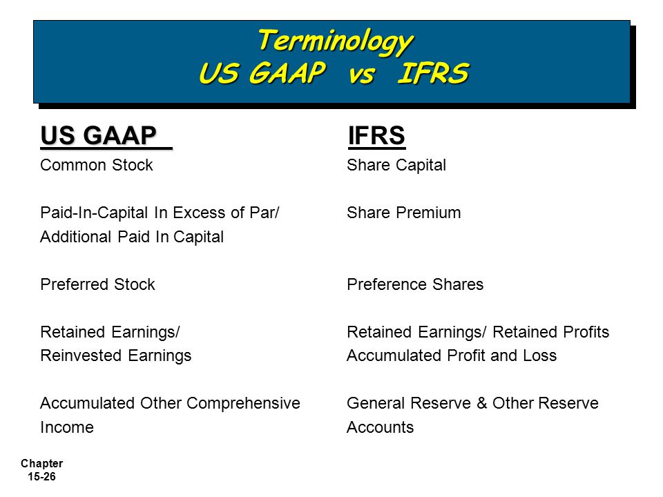 Chapter 15-26 US GAAP US GAAP IFRS Common Stock Share Capital Paid-In-Capital In Excess of Par/ Share Premium Additional Paid In Capital Preferred Sto