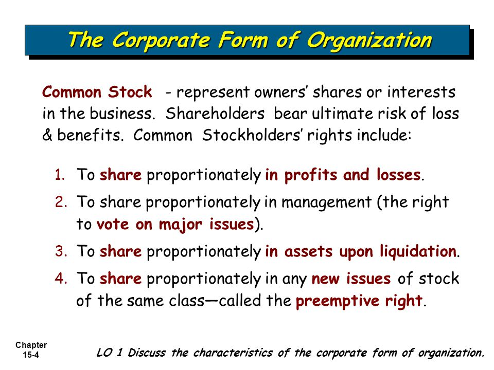 Chapter 15-4 The Corporate Form of Organization LO 1 Discuss the characteristics of the corporate form of organization. Common Stock - represent owner