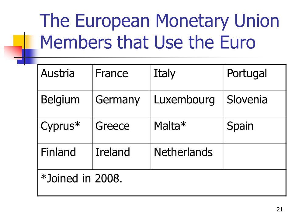 21 The European Monetary Union Members that Use the Euro AustriaFranceItalyPortugal BelgiumGermanyLuxembourgSlovenia Cyprus*GreeceMalta*Spain FinlandIrelandNetherlands *Joined in 2008.