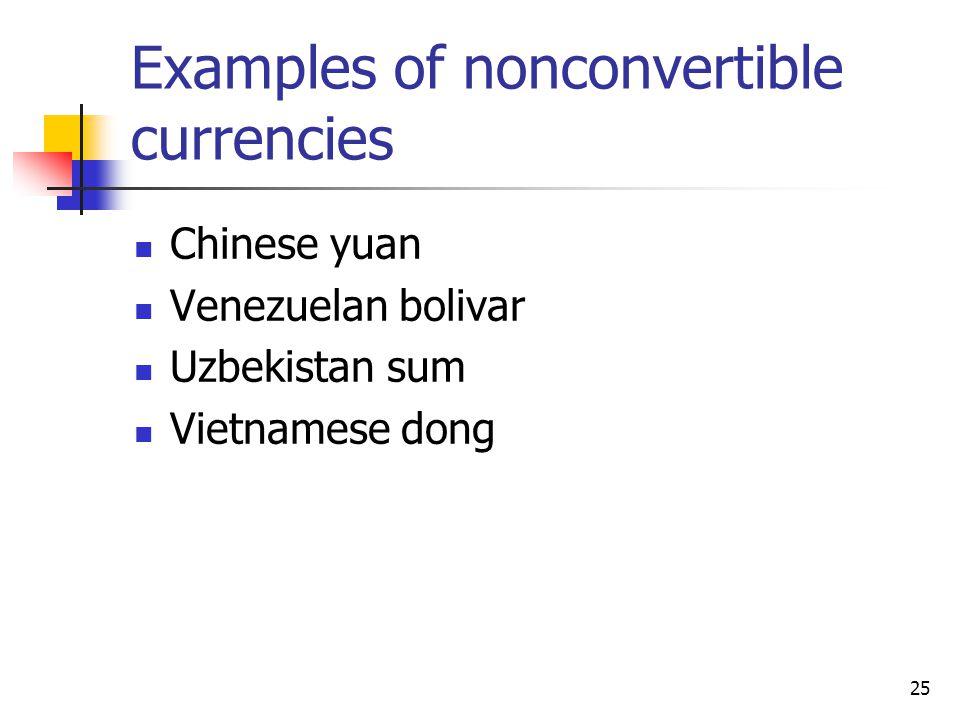 25 Examples of nonconvertible currencies Chinese yuan Venezuelan bolivar Uzbekistan sum Vietnamese dong