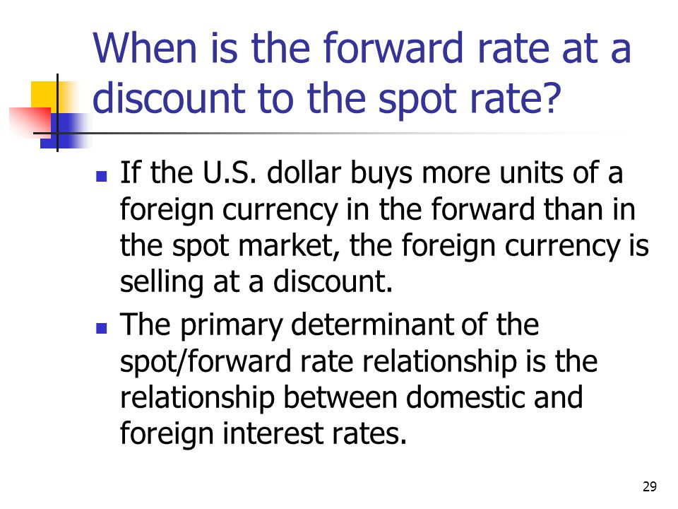 29 When is the forward rate at a discount to the spot rate.