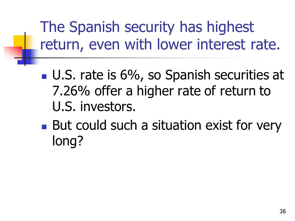 36 The Spanish security has highest return, even with lower interest rate.