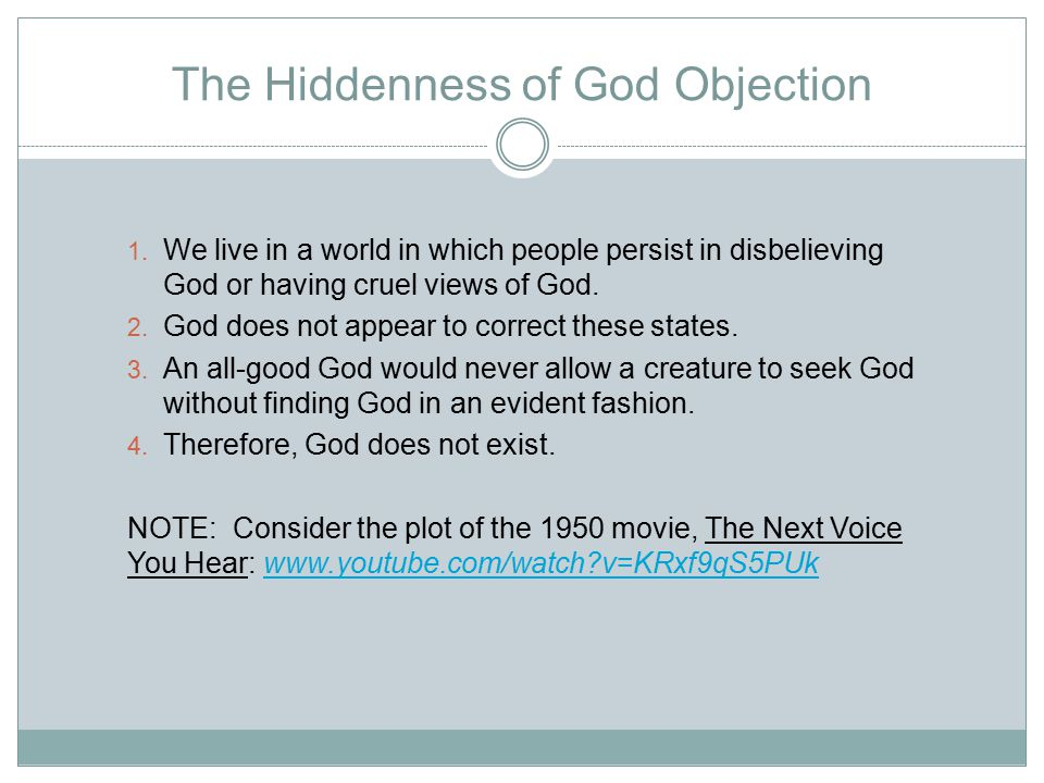 The Hiddenness of God Objection 1.