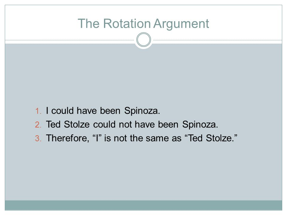 The Rotation Argument 1. I could have been Spinoza.