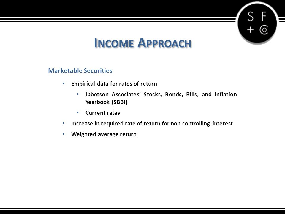 I NCOME A PPROACH Marketable Securities Empirical data for rates of return Ibbotson Associates' Stocks, Bonds, Bills, and Inflation Yearbook (SBBI) Current rates Increase in required rate of return for non-controlling interest Weighted average return