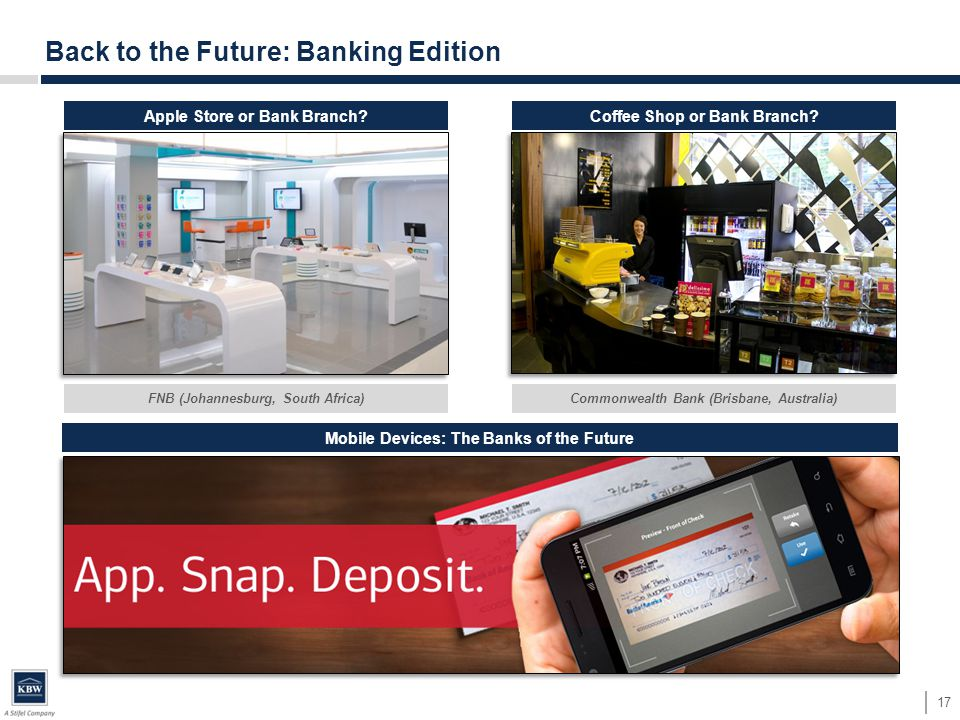 Back to the Future: Banking Edition 17 Apple Store or Bank Branch Coffee Shop or Bank Branch.