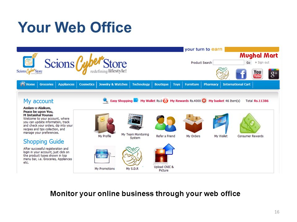 Your Web Office Monitor your online business through your web office 16
