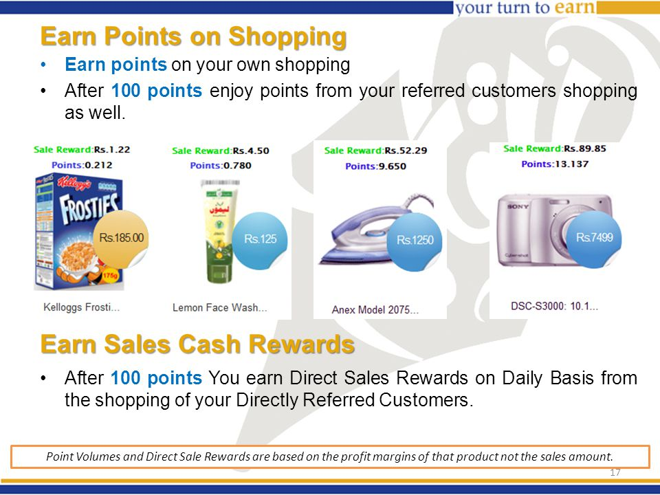 Earn Points on Shopping Earn points on your own shopping After 100 points enjoy points from your referred customers shopping as well.