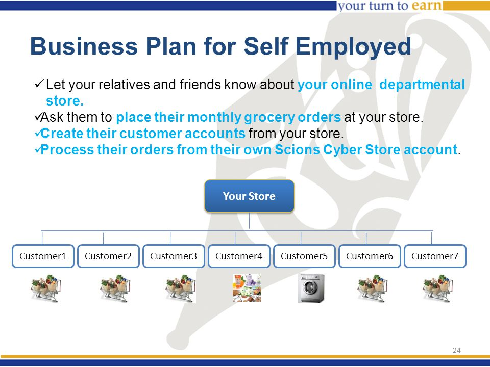 Business Plan for Self Employed Let your relatives and friends know about your online departmental store.