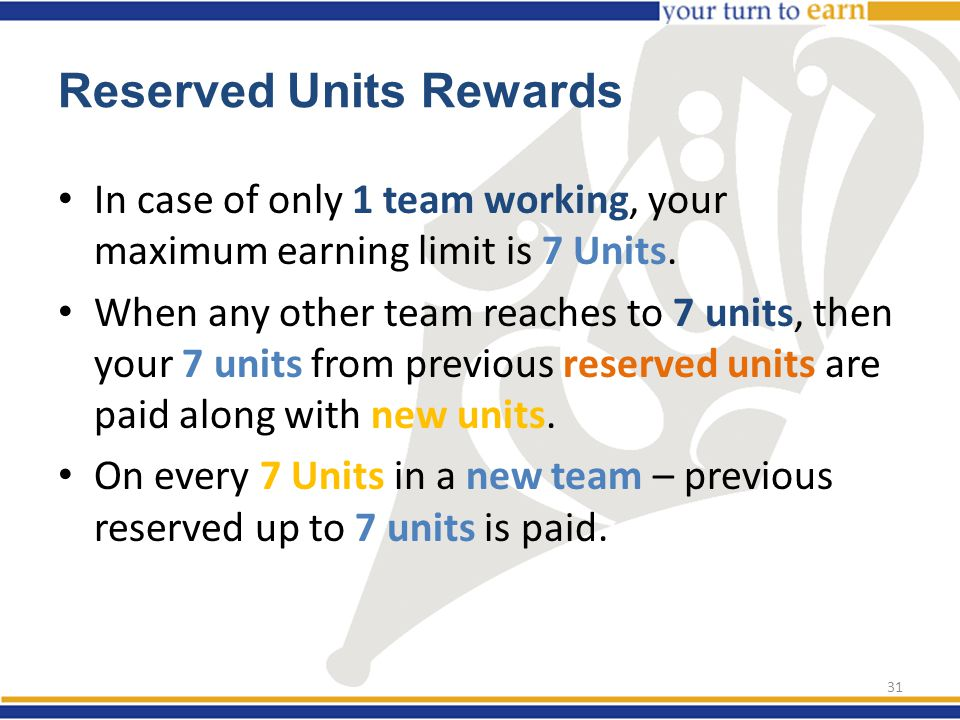 In case of only 1 team working, your maximum earning limit is 7 Units.