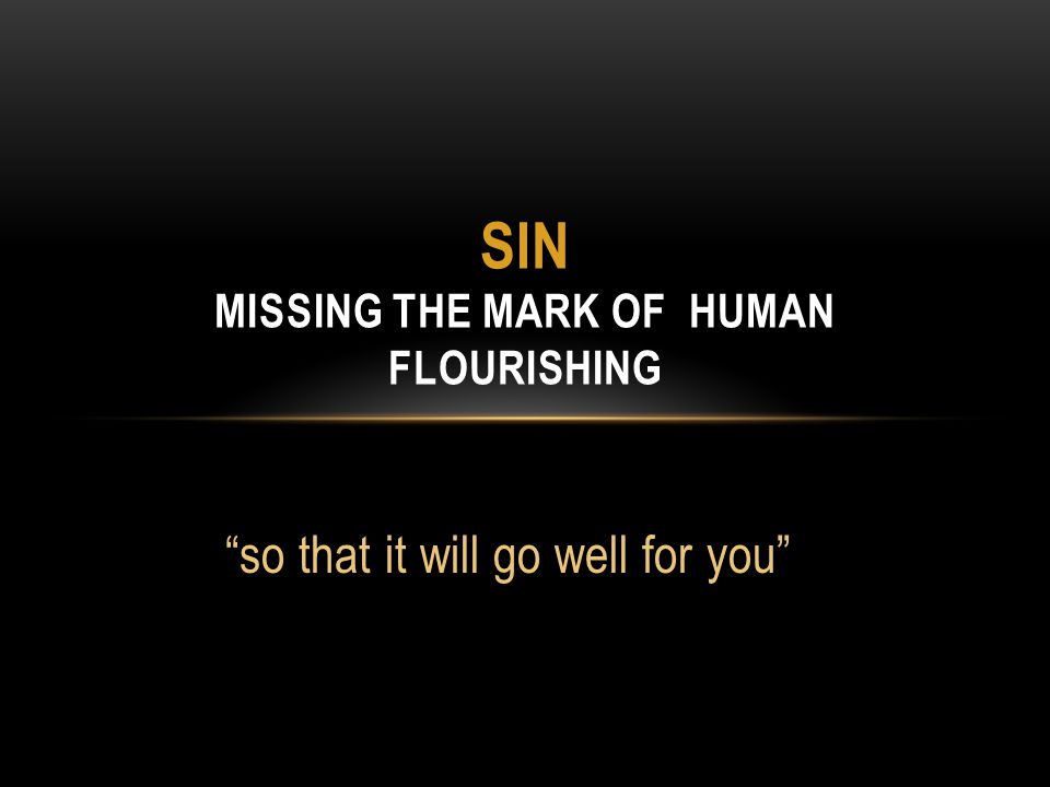 SIN MISSING THE MARK OF HUMAN FLOURISHING so that it will go well for you