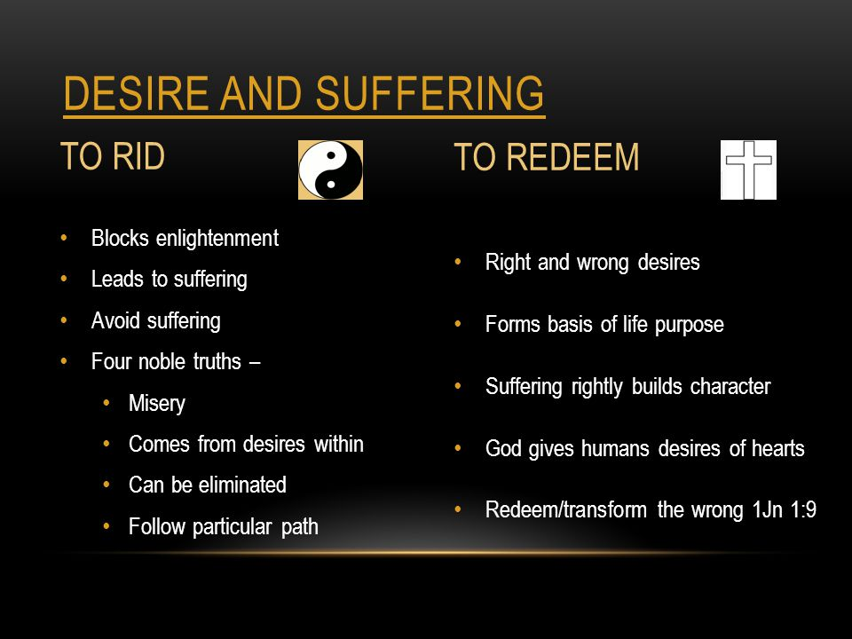 DESIRE AND SUFFERING TO RID Blocks enlightenment Leads to suffering Avoid suffering Four noble truths – Misery Comes from desires within Can be eliminated Follow particular path TO REDEEM Right and wrong desires Forms basis of life purpose Suffering rightly builds character God gives humans desires of hearts Redeem/transform the wrong 1Jn 1:9