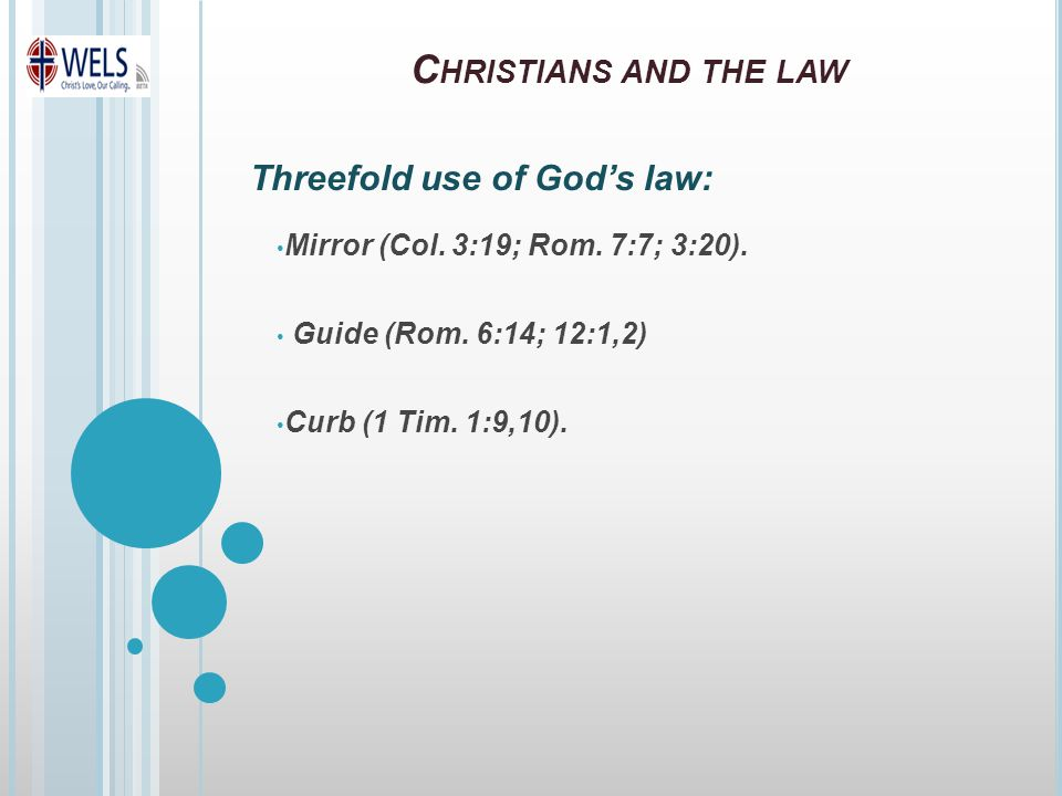 C HRISTIANS AND THE LAW Mirror (Col. 3:19; Rom. 7:7; 3:20).