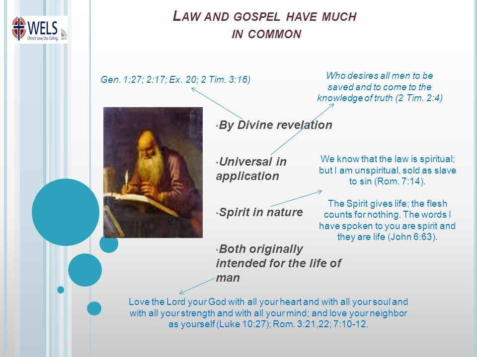 L AW AND GOSPEL HAVE MUCH IN COMMON By Divine revelation Universal in application Spirit in nature Both originally intended for the life of man Gen.
