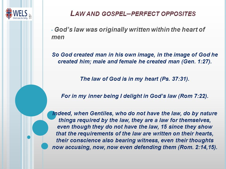 God's law was originally written within the heart of men So God created man in his own image, in the image of God he created him; male and female he created man (Gen.