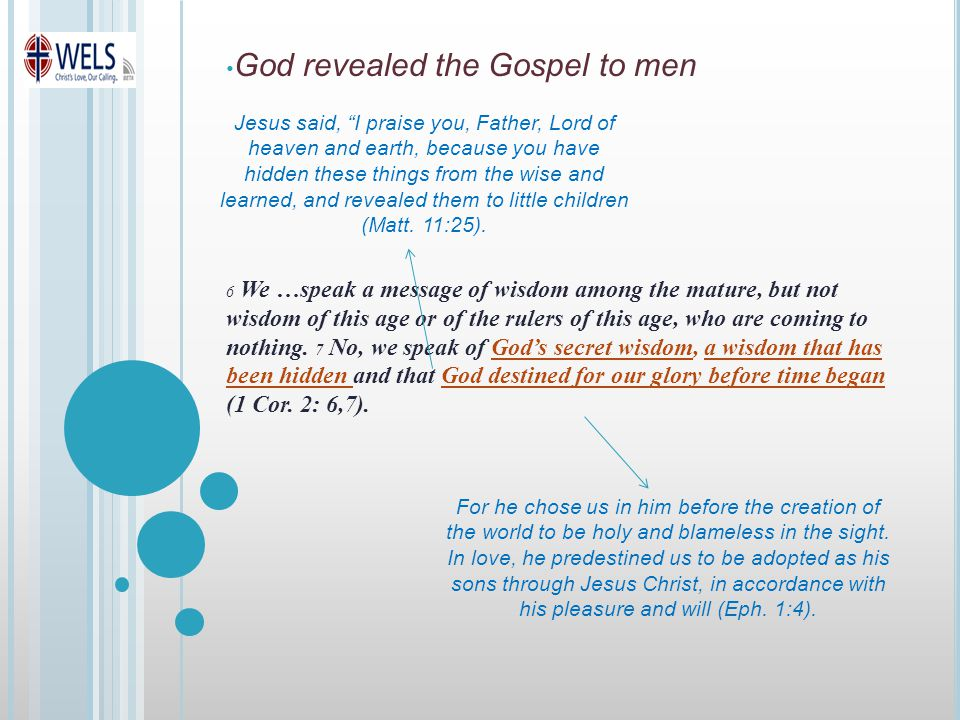 God revealed the Gospel to men 6 We …speak a message of wisdom among the mature, but not wisdom of this age or of the rulers of this age, who are coming to nothing.