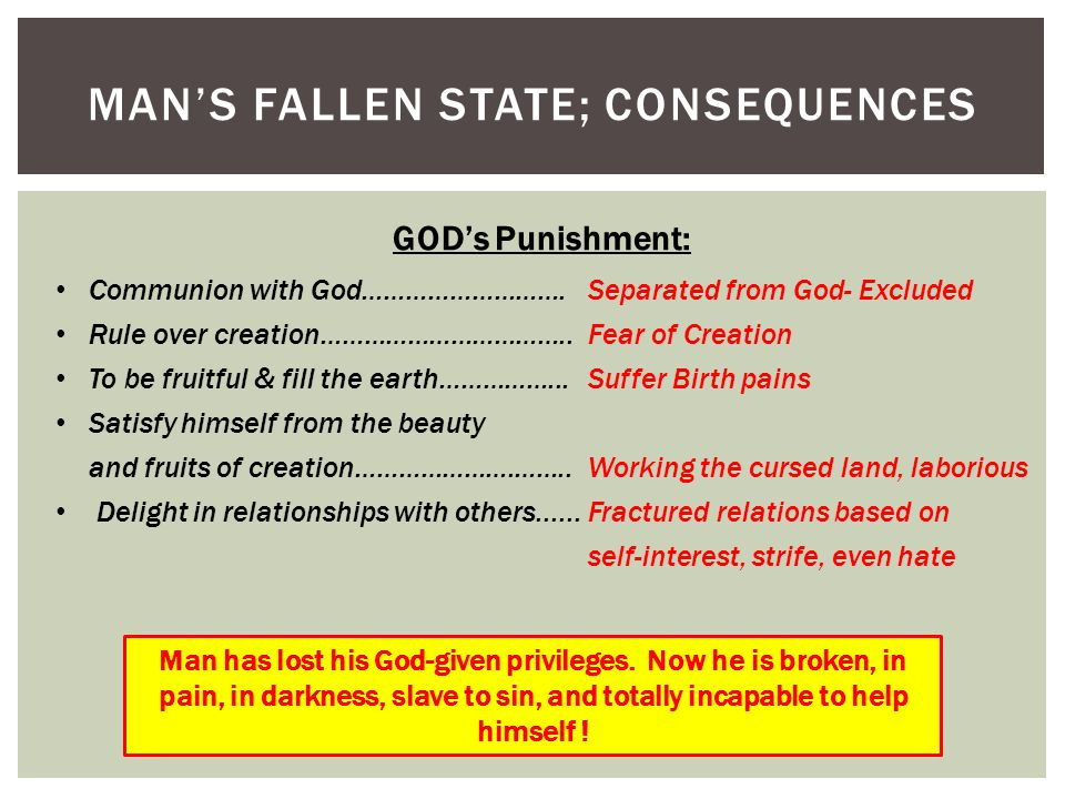 MAN'S FALLEN STATE; CONSEQUENCES GOD's Punishment: Communion with God……………………….Separated from God- Excluded Rule over creation……………………………..