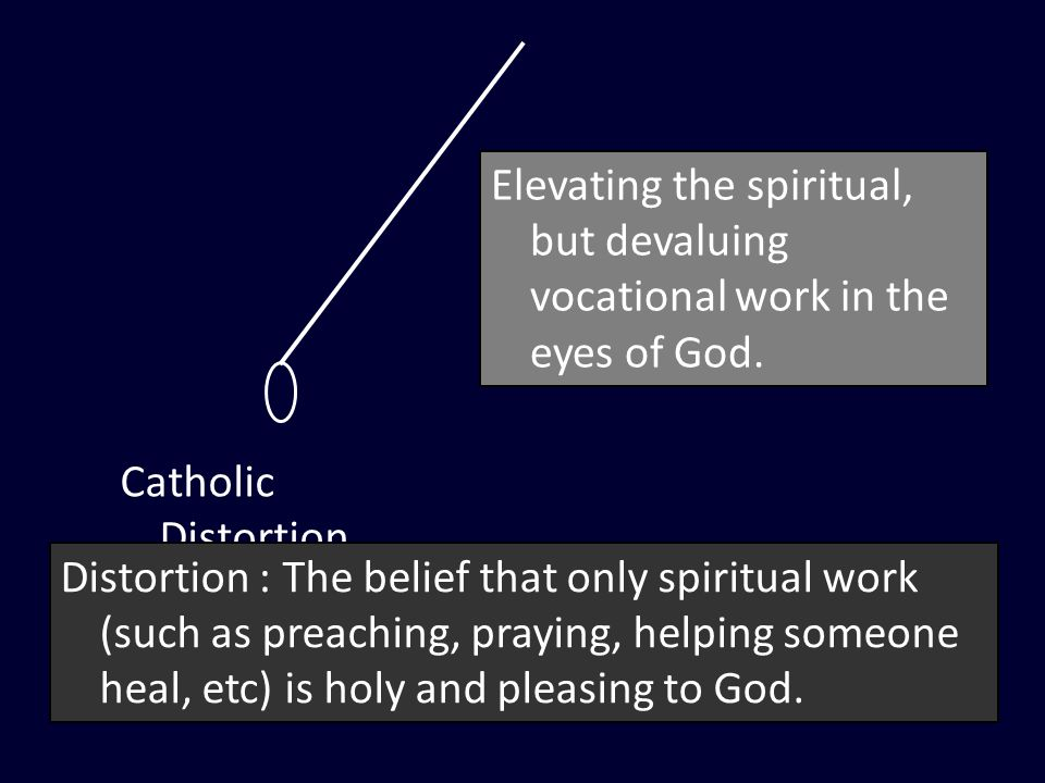 Catholic Distortion Distortion : The belief that only spiritual work (such as preaching, praying, helping someone heal, etc) is holy and pleasing to God.