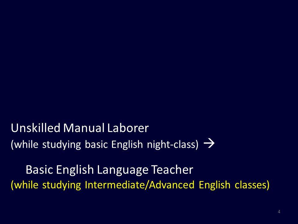 5 Unskilled Manual Laborer  Basic English Language Teacher  Khmer Language teacher
