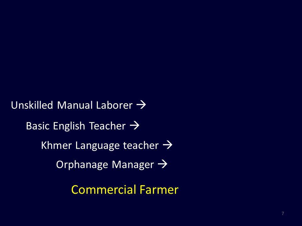 7 Unskilled Manual Laborer  Basic English Teacher  Khmer Language teacher  Orphanage Manager  Commercial Farmer